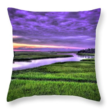 Sunset Over Turners Creek Savannah Tybee Island Ga Throw Pillow