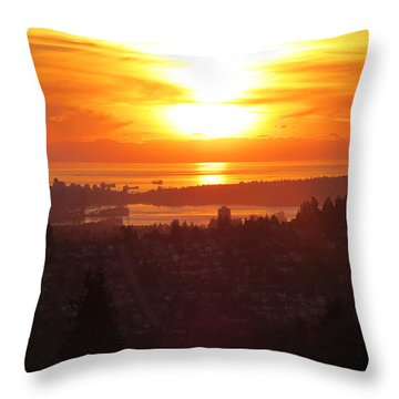 Sunset Over Vancouver Throw Pillow