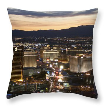 Sunset Over Vegas Strip Throw Pillow by Linda Phelps