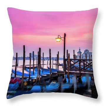 Throw Pillow featuring the photograph Sunset Over Venice by Andrew Soundarajan