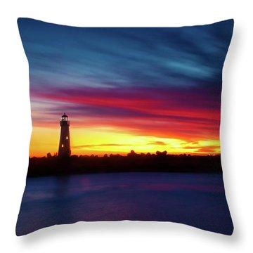 Sunset Over Walton Light Throw Pillow