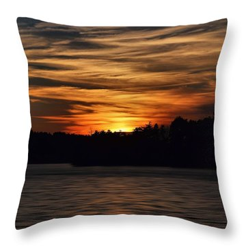 Throw Pillow featuring the photograph Sunset Over Water by Kenny Glotfelty