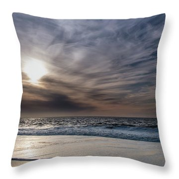 Sunset Over West Coast Beach With Silk Clouds In The Sky Throw Pillow