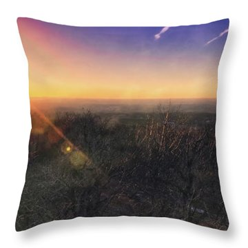 Throw Pillow featuring the photograph Sunset Over Wisconsin Treetops At Lapham Peak  by Jennifer Rondinelli Reilly - Fine Art Photography