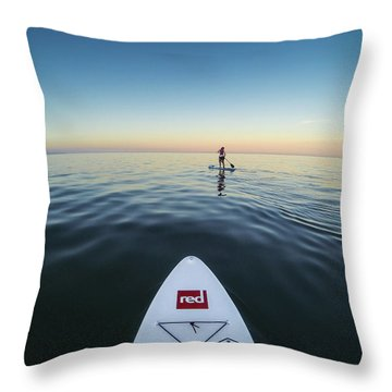 Throw Pillow featuring the photograph Sunset Paddle Boarding by Will Gudgeon