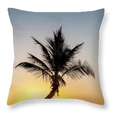 Sunset Palm Throw Pillow by Az Jackson