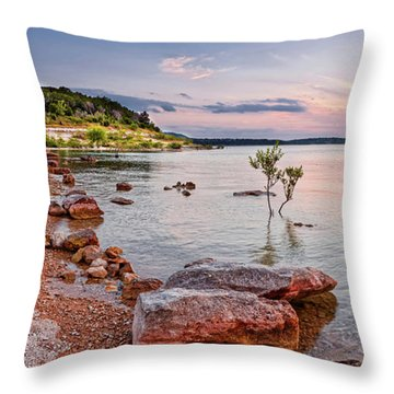 Sunset Panorama Of Canyon Lake East Shore New Braunfels Guadalupe River Texas Hill Country Throw Pillow