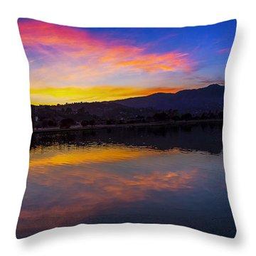 Sunset Panorama Of Mt. Tam And Richardson Bay Throw Pillow