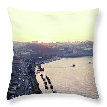 Throw Pillow featuring the photograph sunset panorama of the Douro river in Porto, Portugal by Ariadna De Raadt