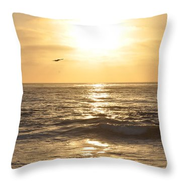 Sunset Pelican Silhouette Throw Pillow