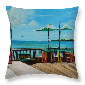 Sunset Pier Tiki Bar - Key West Florida Throw Pillow by Lloyd Dobson