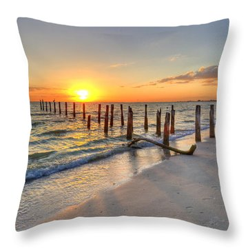 Sunset Pilings Throw Pillow