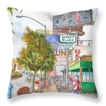 Sunset Plaza, Sunset Blvd., And Londonderry, West Hollywood, California Throw Pillow