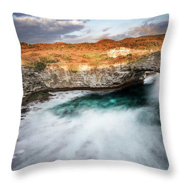 Throw Pillow featuring the photograph Sunset Point In Broken Beach by Pradeep Raja Prints