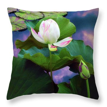 Sunset Pond Lotus Throw Pillow