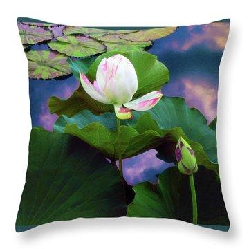Sunset Pond Lotus Throw Pillow