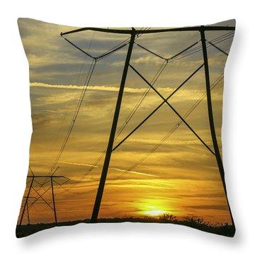 Sunset Power Lines Throw Pillow