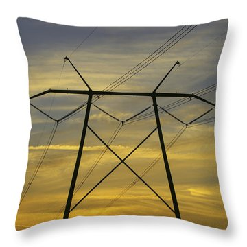 Sunset Power Poles Throw Pillow