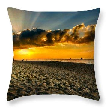 Sunset Puka Beach Throw Pillow