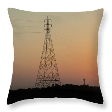 Throw Pillow featuring the photograph Sunset Pylons by Chris Cousins