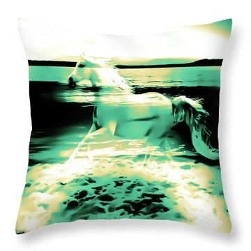 Sunset Rainbow At Edmonds Washington  Throw Pillow