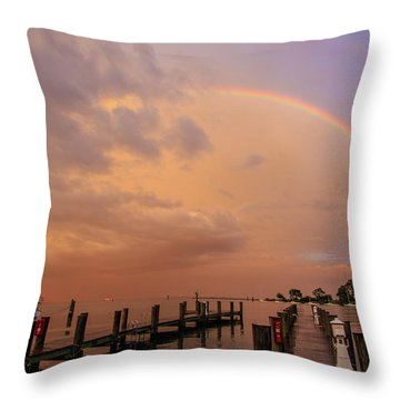 Sunset Rainbow Throw Pillow by Jennifer Casey