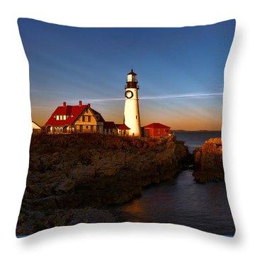 Sunset Rays At Portland Headlight Throw Pillow