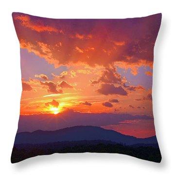 Sunset Rays At Smith Mountain Lake Throw Pillow