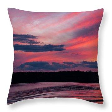 Sunset Red Lake Throw Pillow
