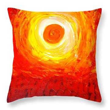 Throw Pillow featuring the painting Sunset Red by Piety Dsilva