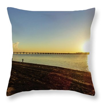 Sunset Reflecting On The Uruguay River Throw Pillow