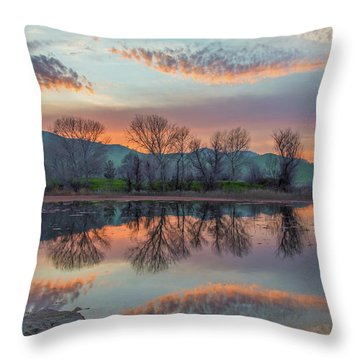 Sunset Reflection Throw Pillow by Marc Crumpler