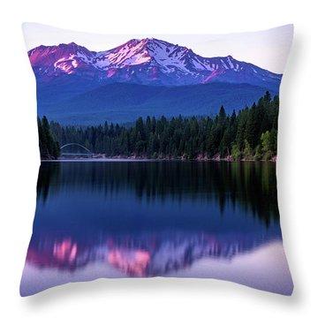Sunset Reflection On Lake Siskiyou Of Mount Shasta Throw Pillow