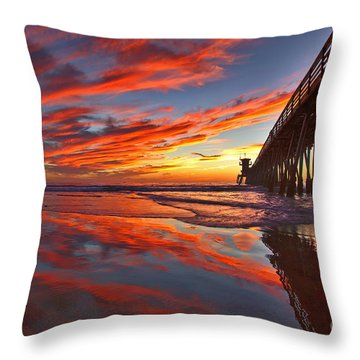 Sunset Reflections At The Imperial Beach Pier Throw Pillow