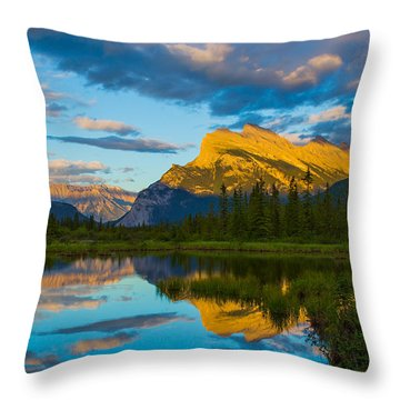 Sunset Reflections In Banff Throw Pillow by John Roberts