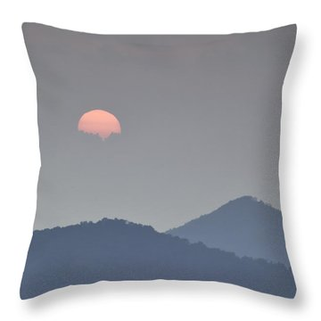 Sunset Repition - Blue Ridge Parkway Sunset Scene Throw Pillow by Rob Travis