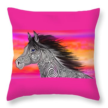 Throw Pillow featuring the painting Sunset Ride Tribal Horse by Nick Gustafson