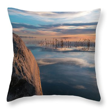 Sunset Rock Throw Pillow by Justin Johnson