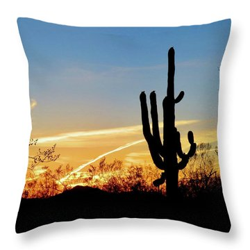 Sunset Saguaro In The Spring Throw Pillow