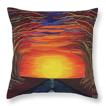 Treetop Sunset River Sail Throw Pillow