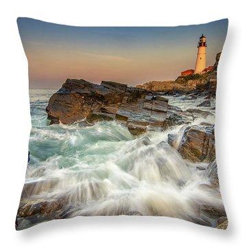 Sunset Sail At Portland Head Light Throw Pillow