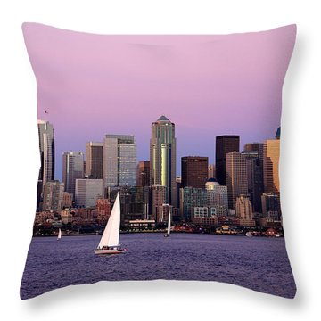 Sunset Sail In Puget Sound Throw Pillow by Adam Romanowicz