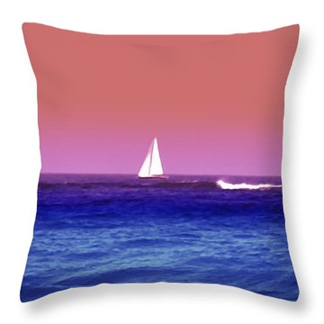 Sunset Sailboat Throw Pillow by Bill Cannon