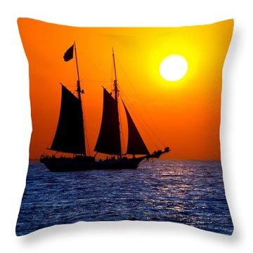 Sunset Sailing In Key West Florida Throw Pillow