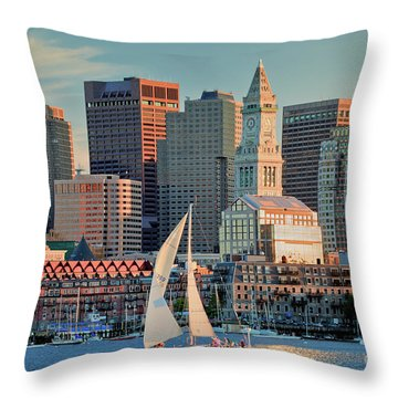 Sunset Sails On Boston Harbor Throw Pillow