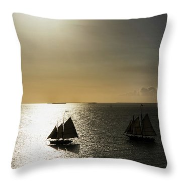Throw Pillow featuring the photograph Sunset Schooners by Arthur Dodd