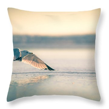 Throw Pillow featuring the photograph Sunset Seagull Takeoffs by T Brian Jones