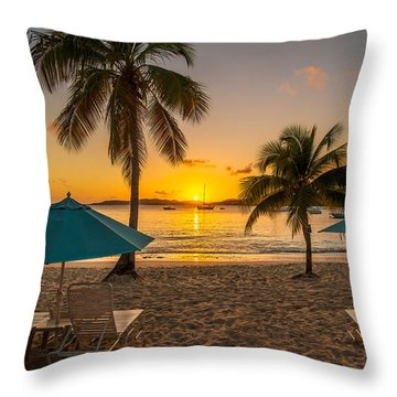 Sunset Secret Harbor Throw Pillow