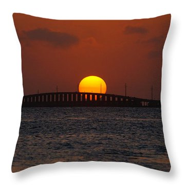 Sunset Seven Mile Bridge Throw Pillow