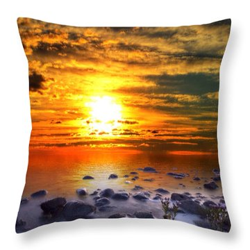 Throw Pillow featuring the painting Sunset Shoreline by Mark Taylor